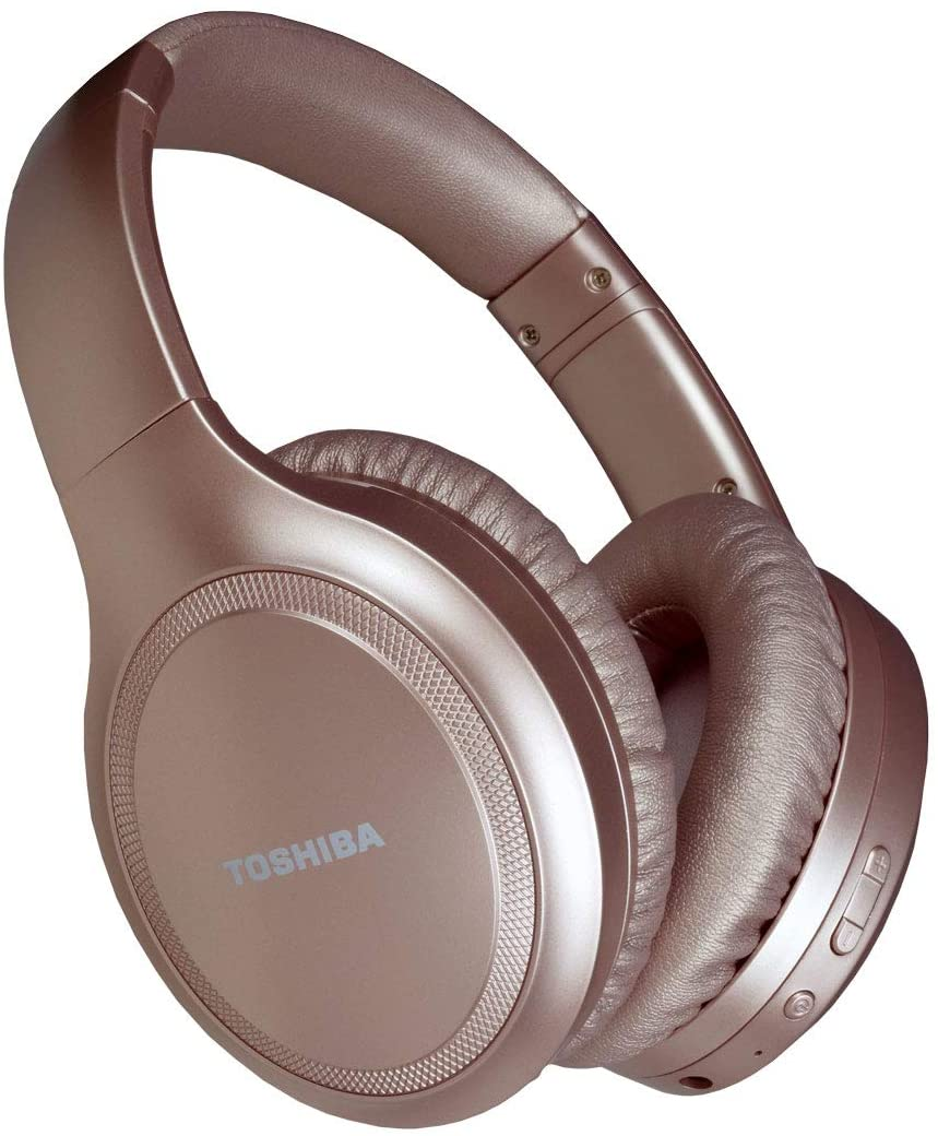Toshiba Noise Cancelling Bluetooth Headphones | Wireless Over Ear Headphones | Bluetooth Headset with Microphone | 20 Hours of Talk & Music Time | 33 FT Operating Range | RZE-BT1200H(PN)