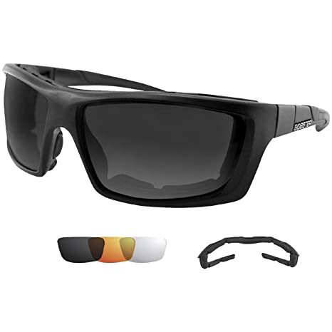 Bobster Enforcer Oversized Sunglasses,Black Frame/Smoke,Clear,Amber Lens,one size