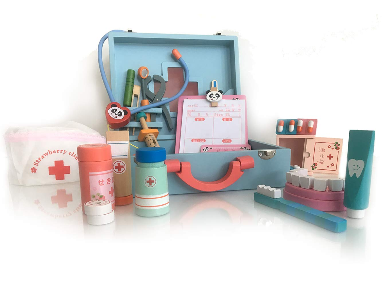 london-kate Deluxe Wooden Play DOCTOR KIT for Kids, Pretend MEDICAL PLAY SET with wooden portal medicine box