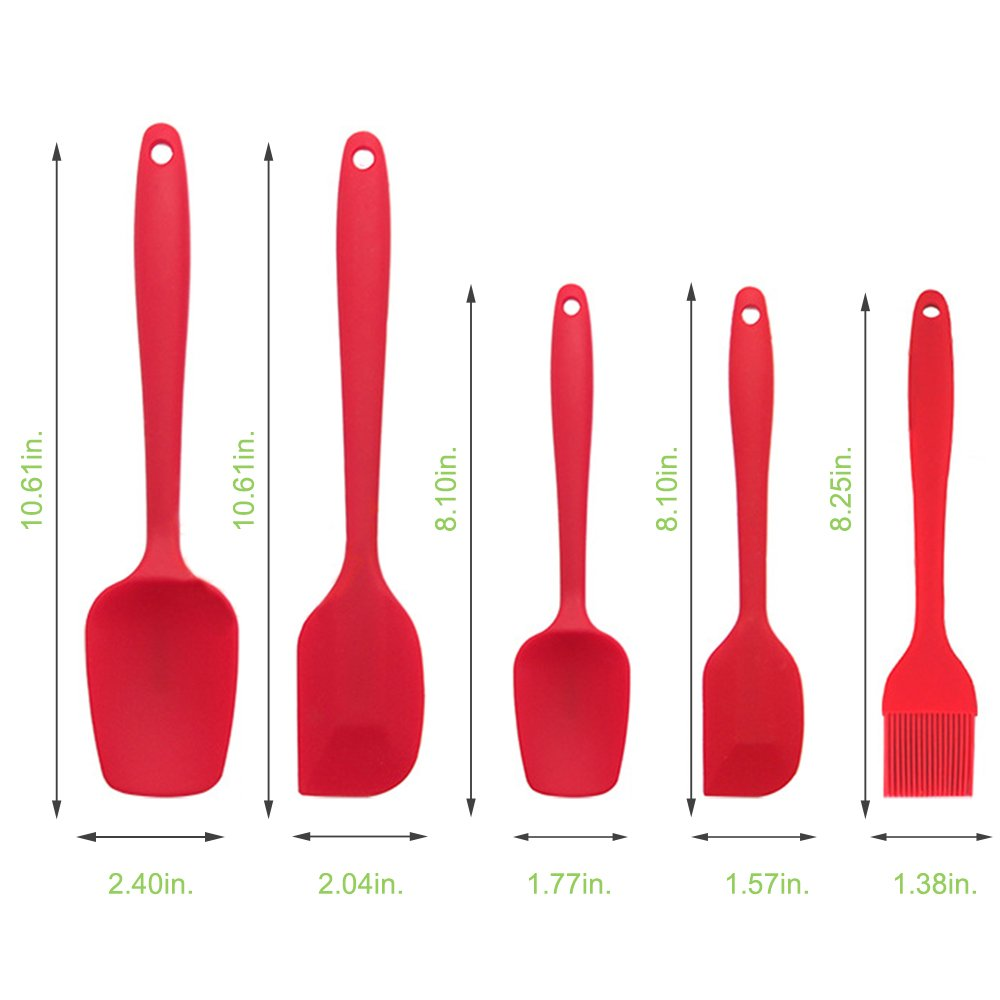 MZCH Nonstick Silicone Spatula Set, Rubber Spatulas Baking Spoon Basting Brush with Comfortable Wide Handle, Heat-Resistant Cooking Utensil Sets, Red, Set of 5 pieces