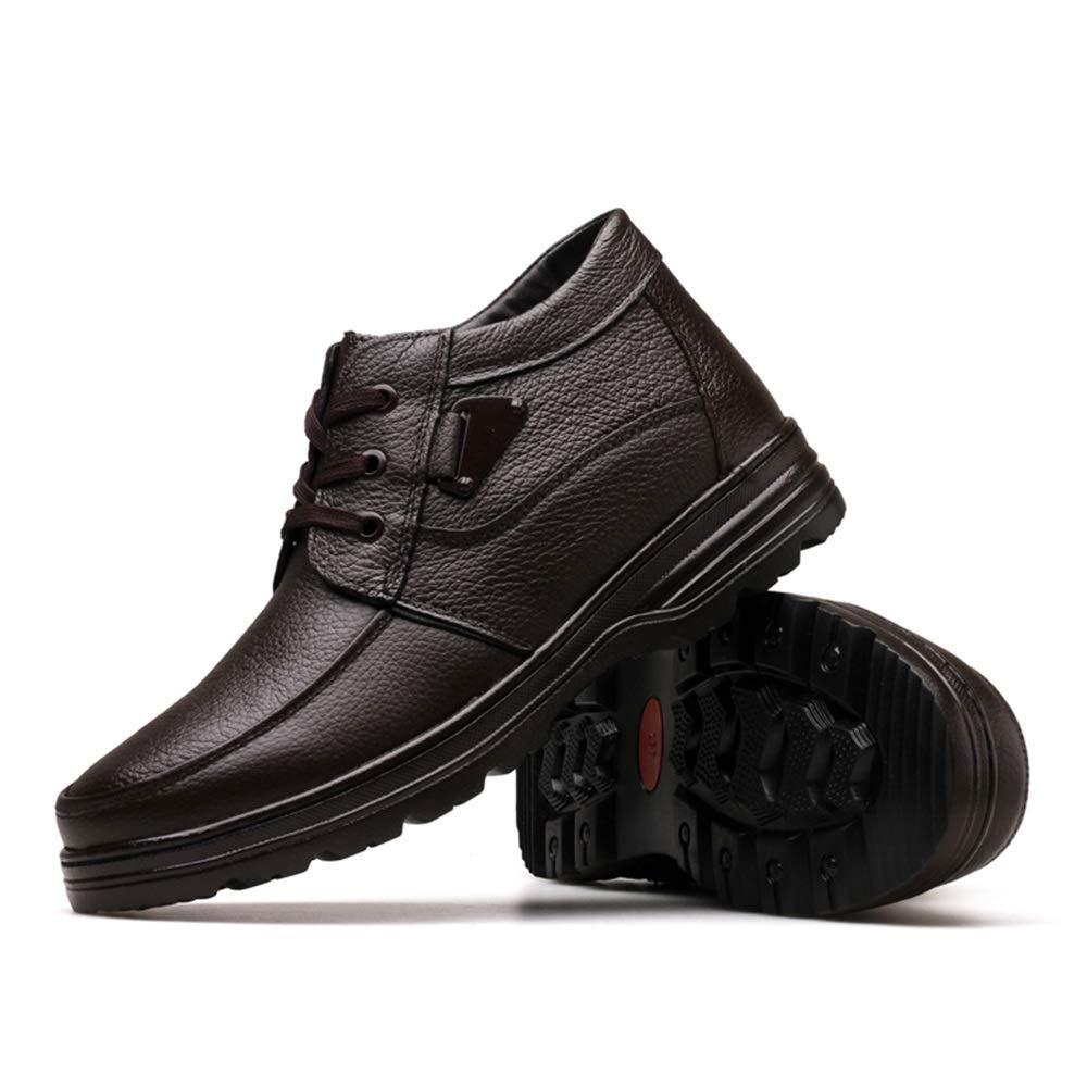 HILOTU Zapatos de Cuero de Los Hombres Punta Cuadrada Ata para Arriba Oxfords Zapatos de Vestir Oxford de Cuero para Hombre (Color : Warm Brown, ...
