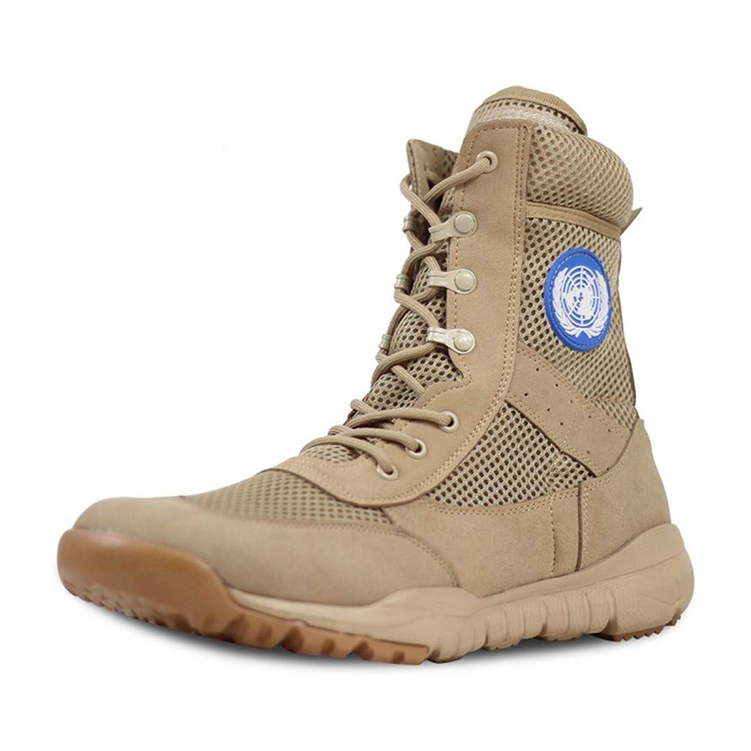 Men's Boots Military Boots Ultra Light And Super Breathable Ankle Boots Beige-W 6.5 by CNSDLK
