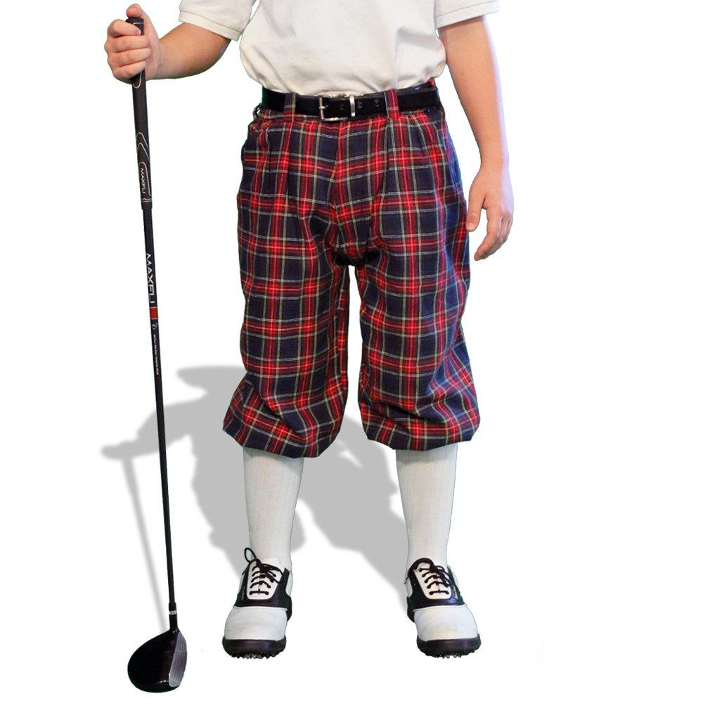 Plaid Golf Knickers - 'Par 5' Youth Navy Stewart Cotton/Ramie - XS 6-7 (22'')
