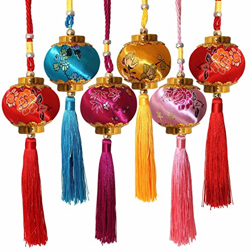 Lucore Colorful Chinese Lucky Lantern Ornaments - 6 pcs Multi-Color Silk Brocade Hanging - Ornament Charm Year