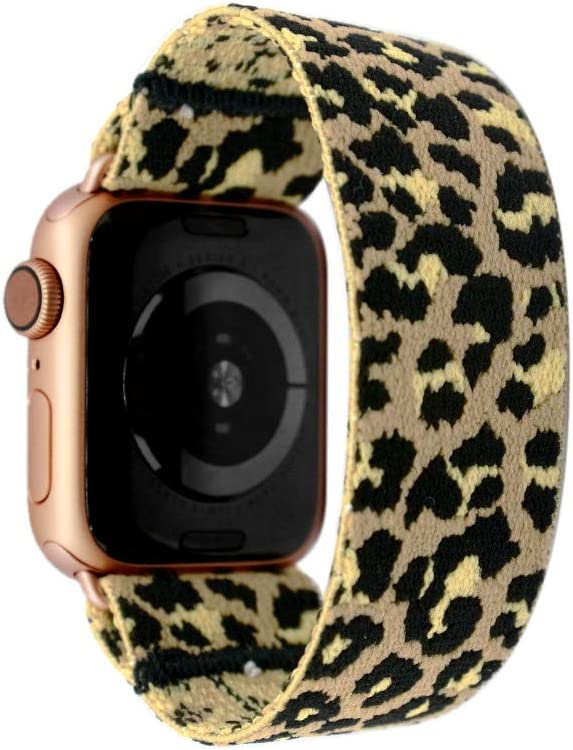 Tefeca Beige Cheetah/Leopard Pattern Elastic Compatible/Replacement Band for Apple Watch 38mm/40mm (Gold Adapter, S fits Wrist Size : 6.0-6.5 inch)
