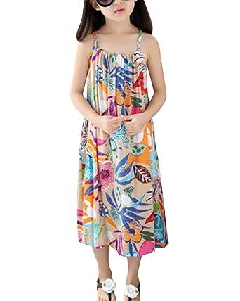 e69d27bb77 Girls Sleeveless Retro Straps Bohemian Beach Dresses Floral Print Holiday  Dress: Amazon.co.uk: Clothing