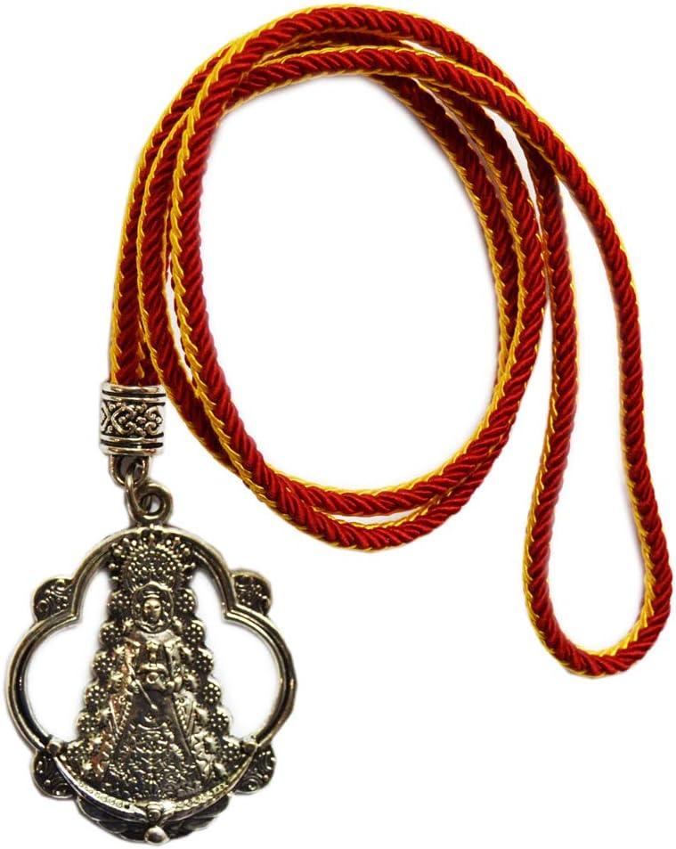 Medalla Virgen del Rocío. Tamaño Total: 46 cm. Cordón con los Colores de la Bandera de España: Amazon.es: Equipaje
