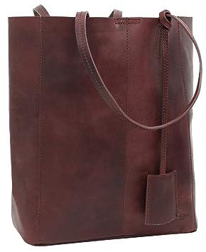 e5eff1150abdf Gusti Handtasche Leder Damen Herren groß Cassidy Umhängetasche Shopper 13L  Tasche Dunkelrot Weinrot