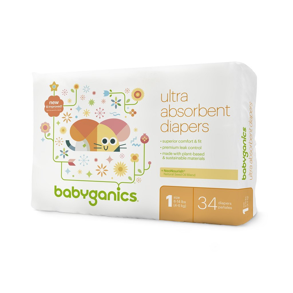 136 Count Size 5 Babyganics Ultra Absorbent Diapers