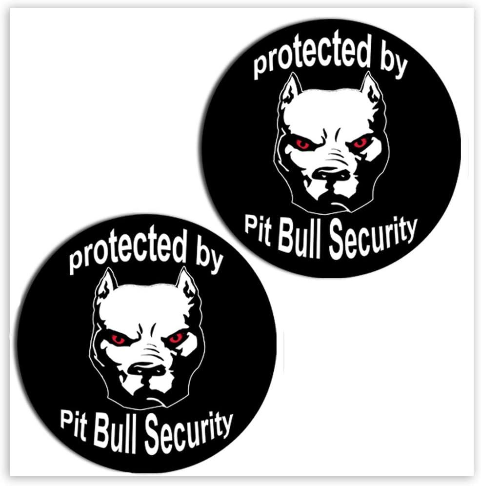 Skinoeu 2 Stück Vinyl Aufkleber Autoaufkleber Sticker Dog Hund Pitbull Security Auto Motorrad Fahrrad Tuning B 104 Auto