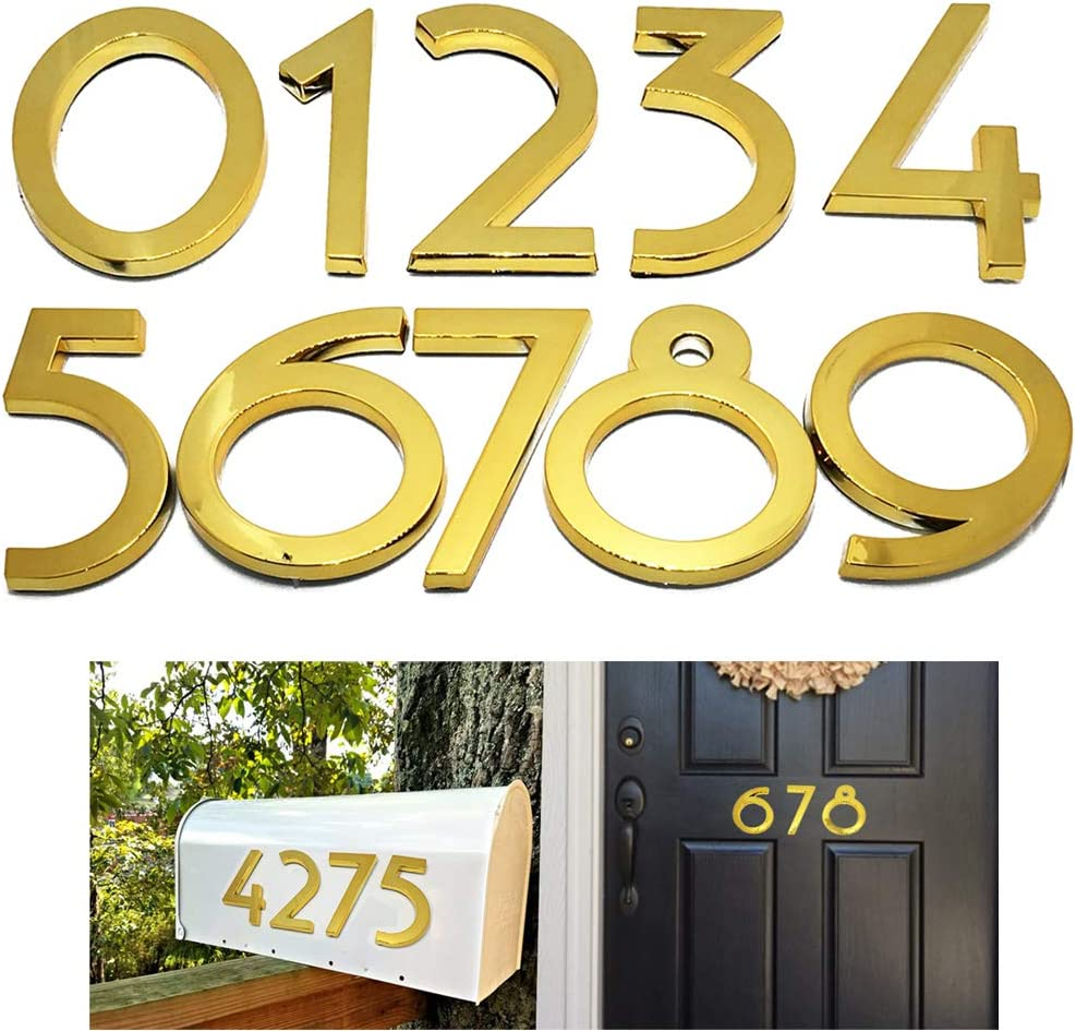 Diggoo 10 Pack Mailbox Numbers 0-9, 2.76 Inch High, Door Address Numbers Stickers for Apartment, House, Room, Office, Cars, Trucks, Gold Plating Process Number Sign