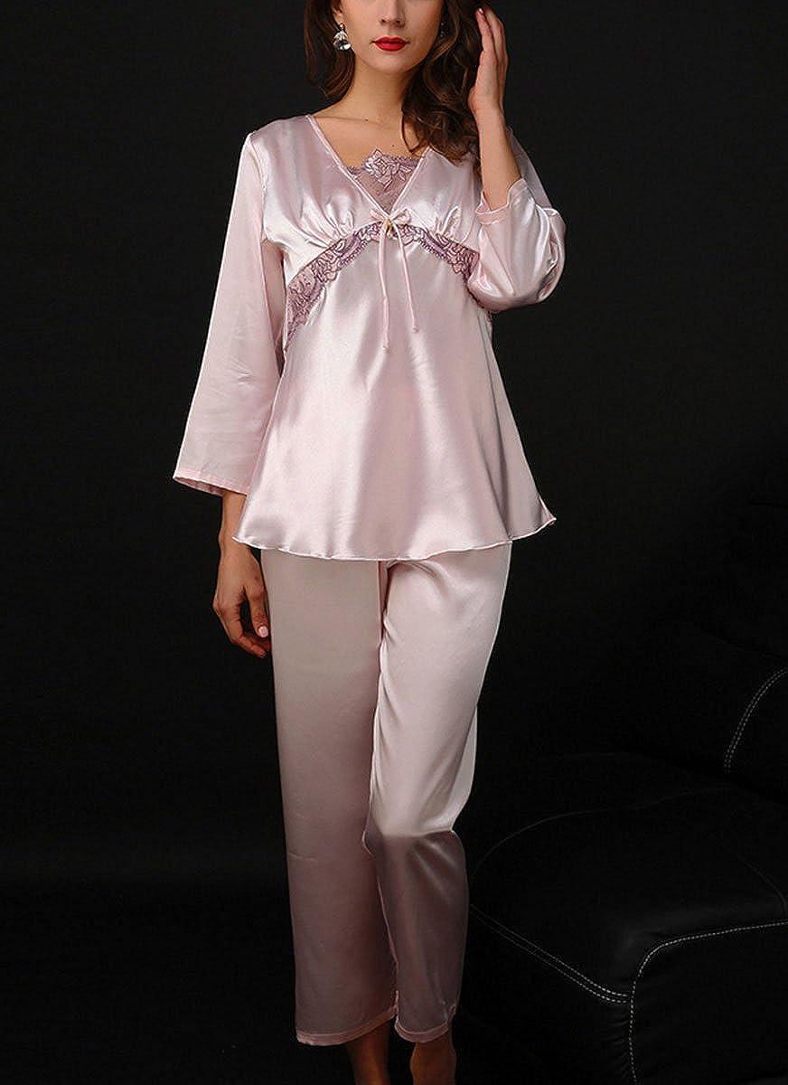 212b8ffd48 AIVTALK Damen Pyjama Set Schlafanzug aus Kunstseide lang Hose + V-Ausschnitt  Nachthemd Für Braut Fashion Weiche Negligee mit Spitze Elegante Nachtwäsche  mit ...
