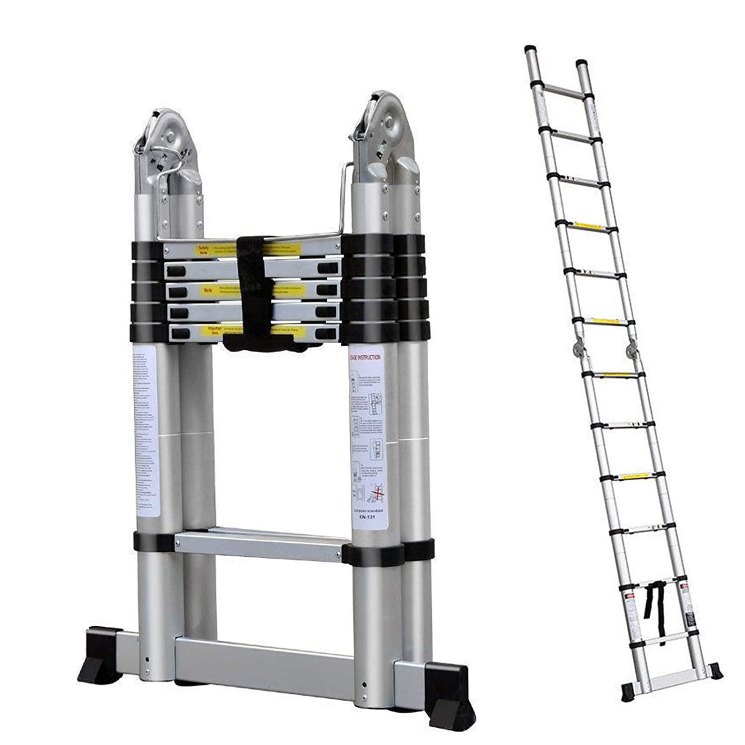 5M / 2.5M+ 2.5M Foldable Ladders A Frame Telescopic Aluminium Extendable Extension 16 Steps150kg Max. Capacity Multipurpose Climb Ladder Portable Loft Attic for Business Home Work DIY Builder dicn factory