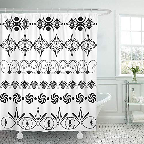Emvency Shower Curtain Set Waterproof Adjustable Polyester Fabric Border Large of Floral Design Vintage Nouveau Graphic Flower Baroque Victorian 66 x 72 inches Set with Hooks for Bathroom ()