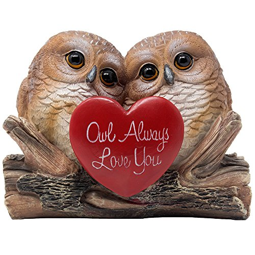 Romantic Owl Always Love You Figurine with Red Heart and Two Decorative Owls on Log For Cute Girls Bedroom Decor Statues Or Anniversary Gift for Wife & Valentines Day Gift Ideas for Girlfriend