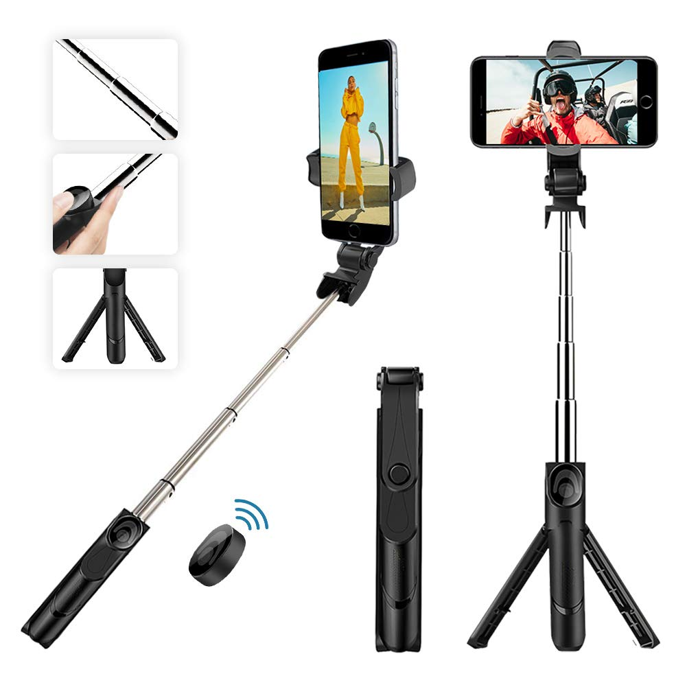 Bluetooth Selfie Stick Tripod, BOKIN Wireless Selfie Stick for iPhone 6/iPhone 6 Plus/iPhone 7/iPhone 7 Plus/iPhone 8/iPhone 8 Plus/iPhone X and Samsung Note 8/S8 and Other Android Phones