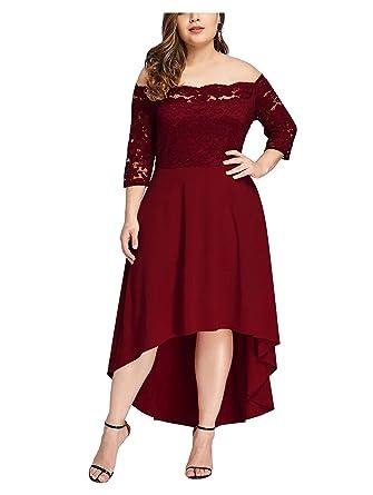 Hannavivi Women Plus Size Vintage Lace Midi Dresses Plain Off The Shoulder Cocktail Party Dresses Burgundy 18w