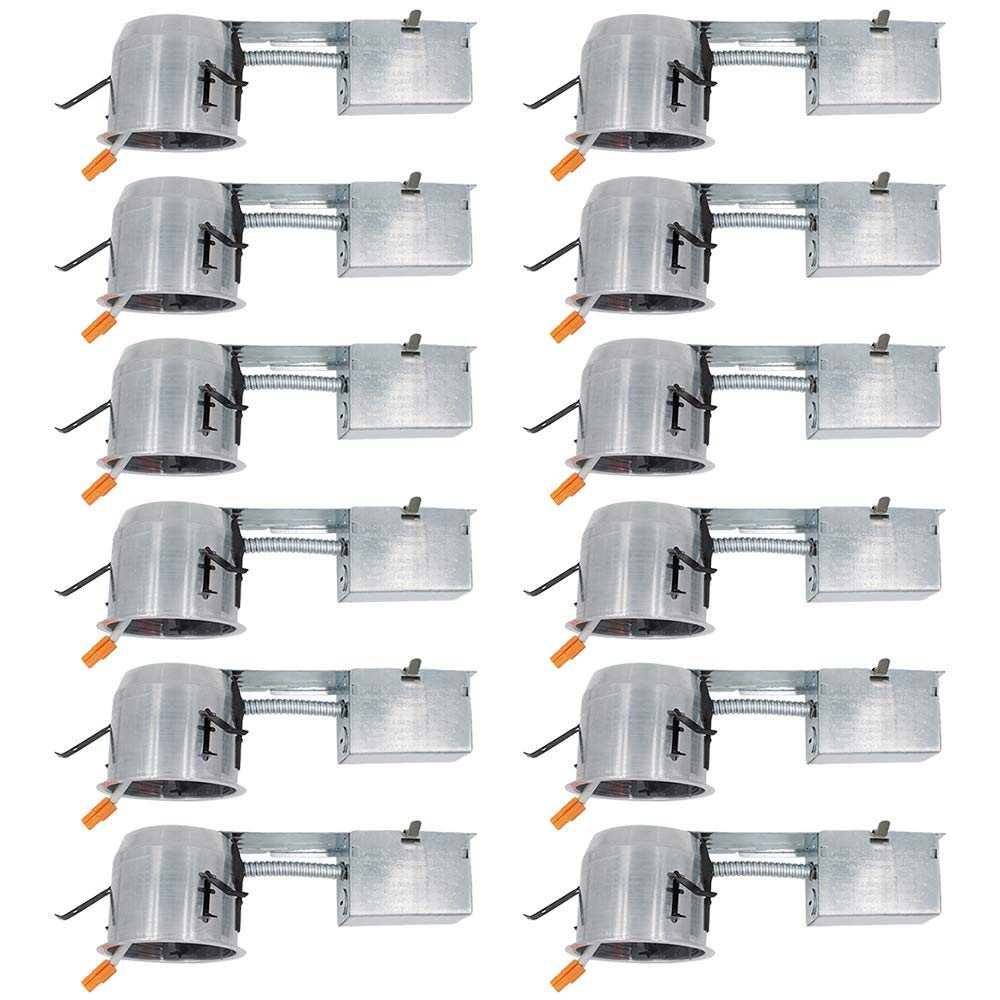 """ESD Tech 12 Pack 4"""" Inch Remodel LED Recessed Light Can, Slim, Air Tight IC Rated Shallow Housing for Retrofit Downlight Kit – UL Listed and Title 24 Certified (TP24 Connector)"""