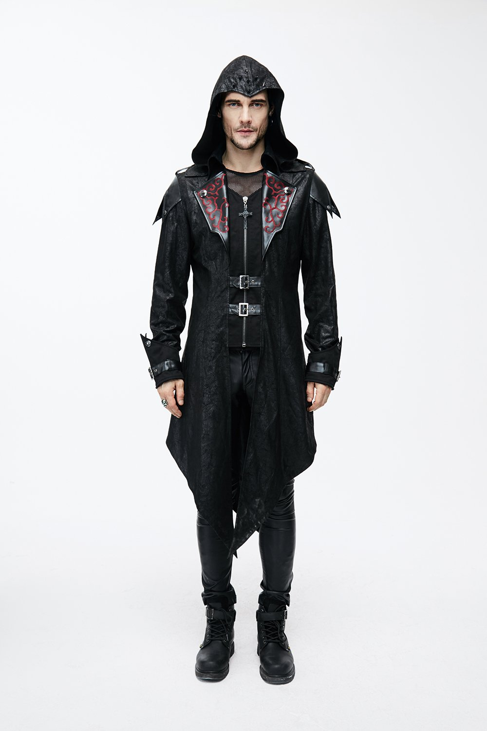 Devil Fashion Punk Men Jackets Faux Leather Steampunk Gothic Swallowtail Coats Autumn Winter Long Hooded Coats Overcoat 5
