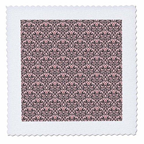 3dRose Anne Marie Baugh - Patterns - Elegant Light Pink and Black Diamond Rose Damask Pattern - 14x14 inch Quilt Square (14w Diamond)