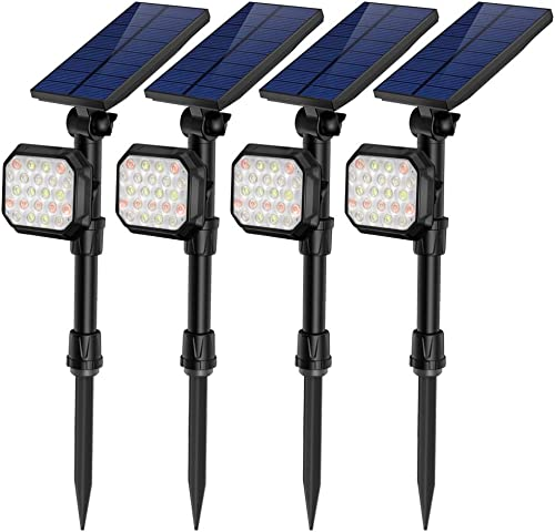 JSOT Solar Lights Outdoor, 22 LED 7 Multi-Color Auto Spotlight Landscape Lighting for Garden Yard Pathway Patio Porch Garage Yard Lawn Wall 4 Pack