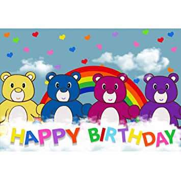 Oerju 3x25m Feliz Cumpleaños Fondo Coloré Ourson En Peluche