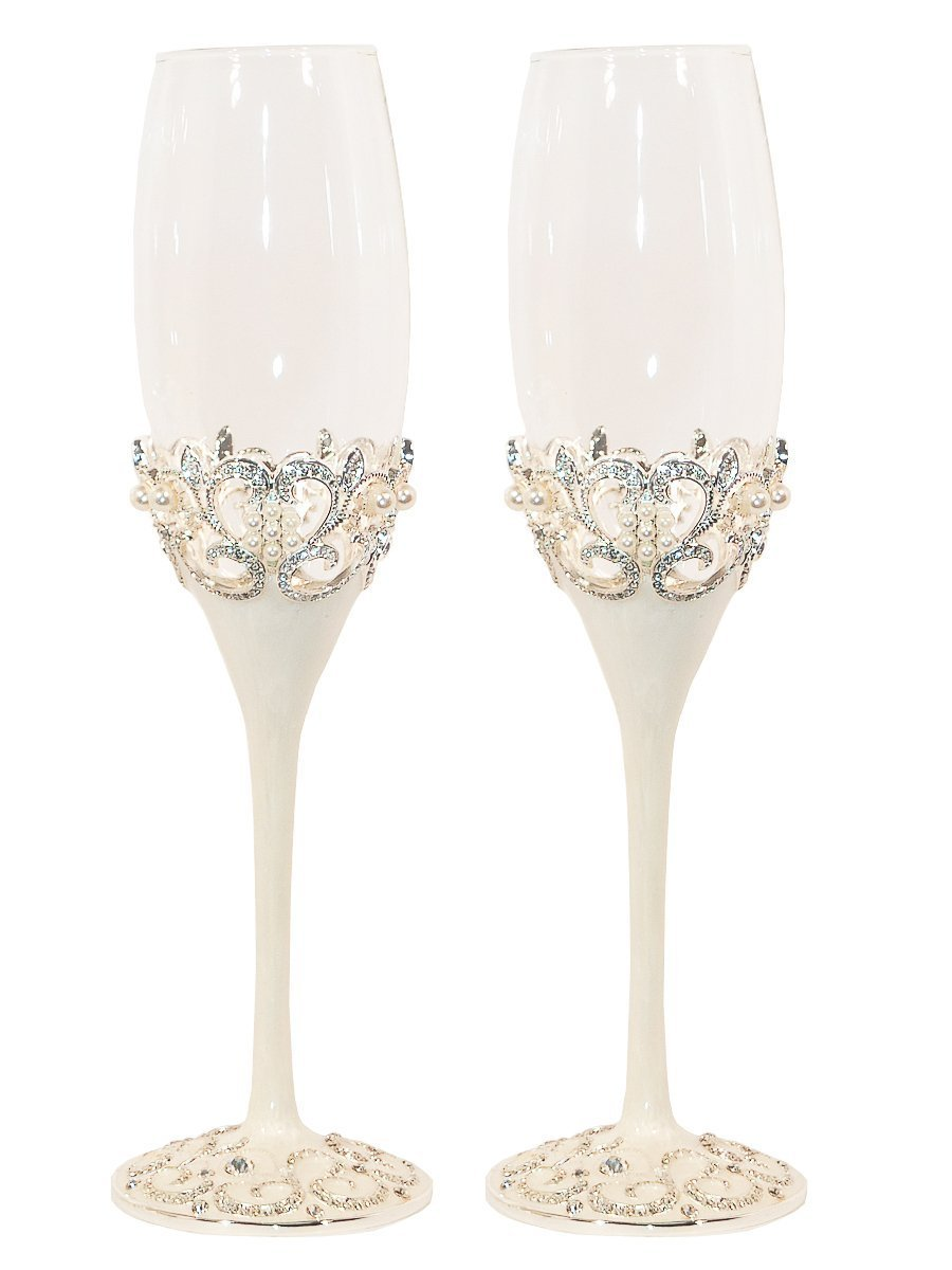 Pearl Wedding Champagne Toasting Flutes, Set of 2 SYNCHKG105874