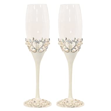 Pearl Wedding Champagne Toasting Flutes, Set of 2