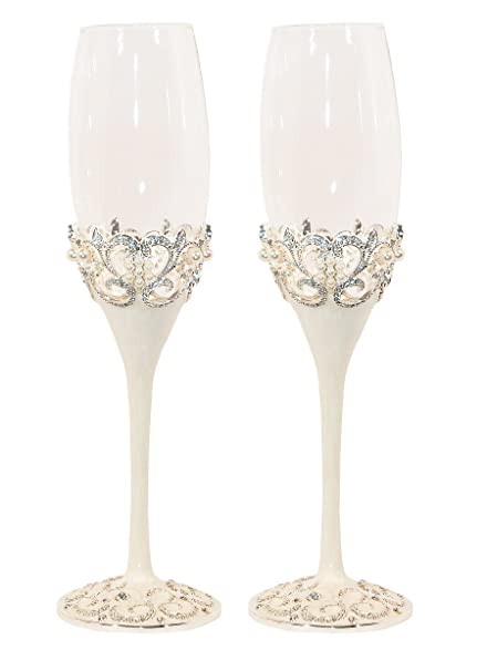 Pearl Wedding Champagne Toasting Flutes Set Of 2