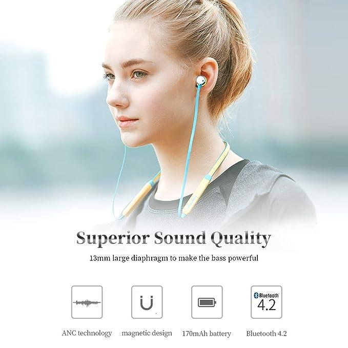 Bluedio TN (Turbina) Auriculares con cancelación de Ruido Activo, Bluetooth 4.2, Auriculares Deportivos inalámbricos, audífonos magnéticos Resistentes al ...