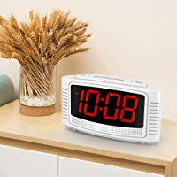 DreamSky Little Digital Alarm Clock with Snooze (White + Red)