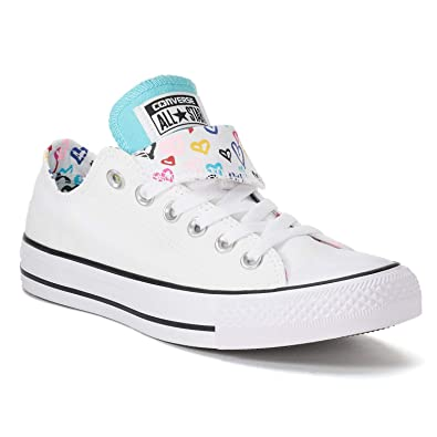 cb78106f45c Amazon.com | Converse Women's Chuck Taylor All Star Double Tongue Heart  Shoes-White/Bleached Aqua | Fashion Sneakers