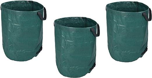 made2trade - Juego de 3 Sacos de Basura de jardín de Polietileno Duradero en Color Verde – 270 l de Volumen: Amazon.es: Jardín