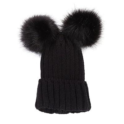 ACVIP Femme Bonnet avec Deux Pompons Chapeau Tricoté Chaud Hiver