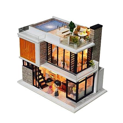 Amazon Com Diy Wooden Miniature Dollhouse Kit With Doll Music