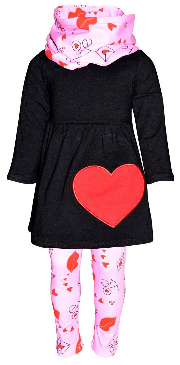 Unique Baby Girls Valentine's Day Love Letters Outfit Set (6/XL, Black)