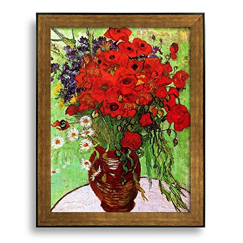 Framed Art Still Life: Red Poppies and Daisies by Vincent Van Gogh Famous Painting Wall Decor Bronze and Black Frame