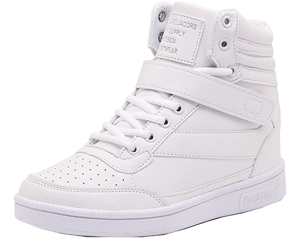 ad7841a319 Amazon.com | ACE SHOCK Wedges Sneakers for Women White, Platform High Heel  Hightop Walking Sneakers Fashion | Fashion Sneakers