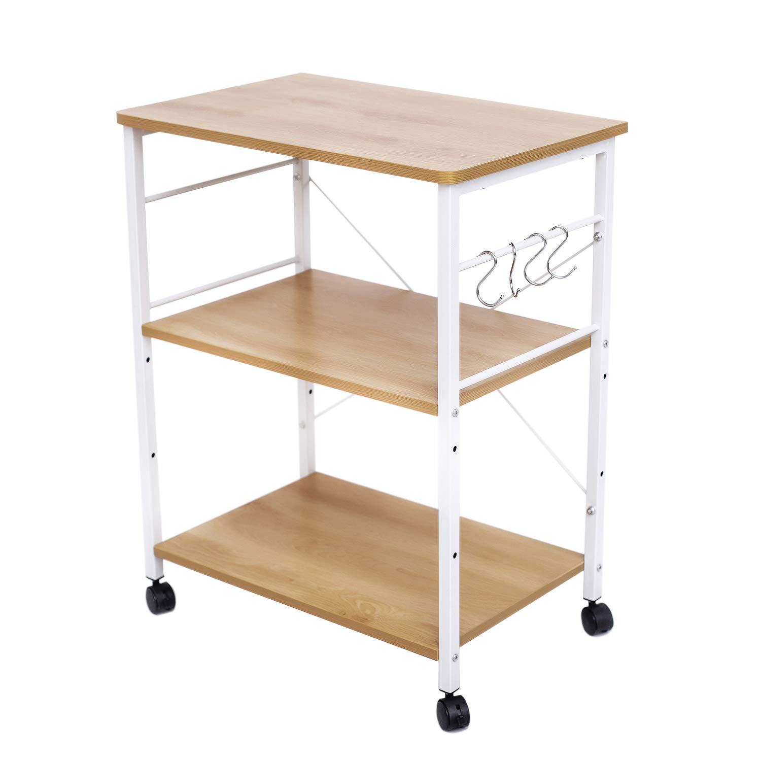 HOFOME Kitchen Baker's Rack, 3 Tier Kitchen Island Cart Utility Microwave Oven Cart, Metal Frame Storage Stand Shelf Light Oak by HOFOME