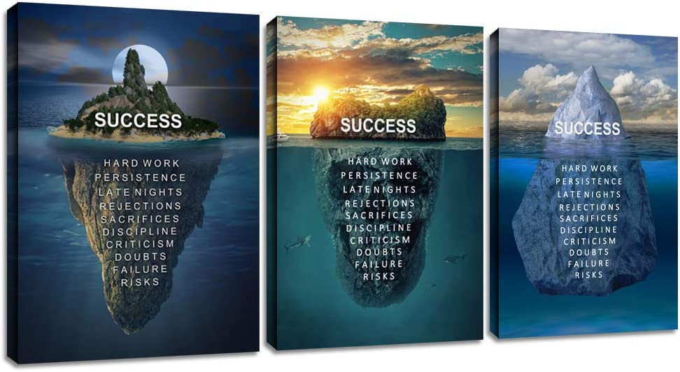 """Motivational Wall Art Canvas Inspirational Poster Success Print Hustle Motivational Office Wall Decor 3 Panels Island Picture Painting Positive Bedroom Living Room Wall Decorations Artwork(36""""Wx16""""H)"""