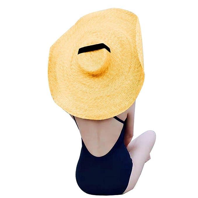 21e268c6e31 MEANIT Womens Sun Straw Hat Oversized Wide Brim Summer Hat Foldable ...