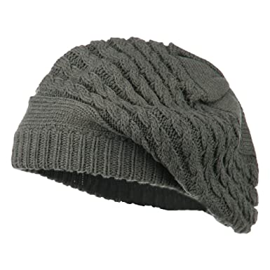 Women s Cable Knit Beret - Grey OSFM at Amazon Women s Clothing store  8693ea56fb5