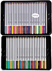 Deli 48 Colored Pencils Set, Soft Core Watercolor Pencils Water Soluble Color Pencils with Brush and Protective Case for Drawing School (6523)