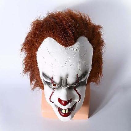 Amazon.com: XXF men latex mask scary halloween clown mask2017 movie Stephen Kings It mask halloween masks for: Clothing