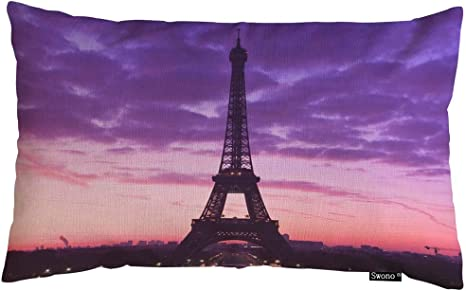 Amazon Com Swono Eiffel Tower Throw Pillow Cover Paris Eiffel Tower Purple Sky Wallpaper Cotton Linen Decorative Rectangular Pillowcase For Sofa And Bed Couch 12 X20 Home Kitchen