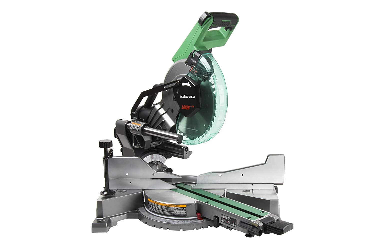 "Metabo HPT C10FSHCT 10"" Sliding Dual Bevel Compound Miter Saw with Laser Marker, Zero Rear Clearance Slide System, Powerful 15-Amp Motor, Front Bevel Lock, Includes 10"" 40T TCT Miter Saw Blade"
