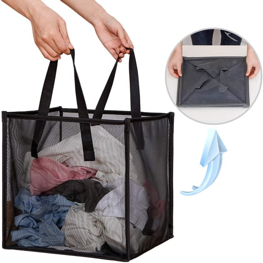 Laundry Hamper Bag with Handles,Portable &Collapsible Dirty Clothes Mesh Basket Foldable for Washing Storage, Kids Room,Dorm or Travel (Black, Single-Layer)