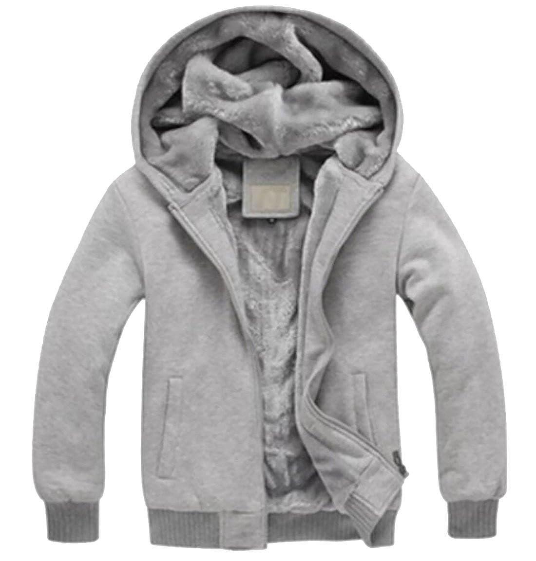 Gnao Men Hoodies Fleece Lined Front Zip Pockets Warm Jacket Sweatshirt