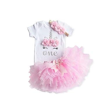 Amazon.com: Lune Beans 1 año de cumpleaños niña vestido de ...