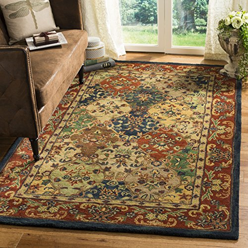 Safavieh HG911B-6 Heritage Collection Premium Wool Area Rug, 6' x 9', Beige/Burgundy ()